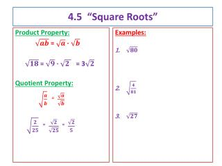 "4.5  ""Square Roots"""