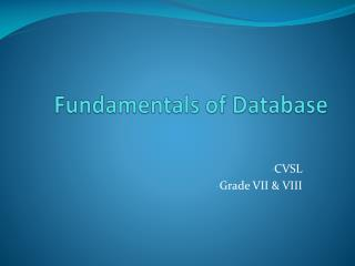 Fundamentals of  Database