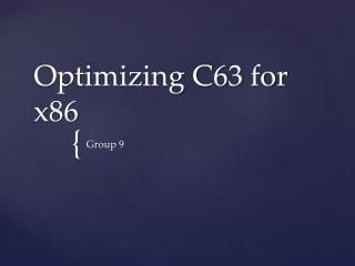 Optimizing C63 for x86