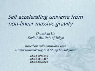 Self accelerating universe from non-linear massive gravity