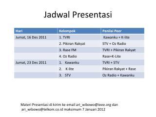 Jadwal Presentasi