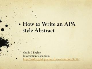 How to Write an APA style Abstract