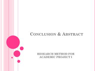 Conclusion & Abstract