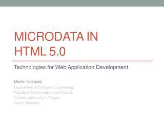 Microdata  in  HTML  5.0