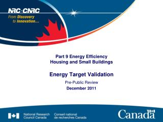 Part 9 Energy Efficiency  Housing and Small Buildings Energy Target  Validation
