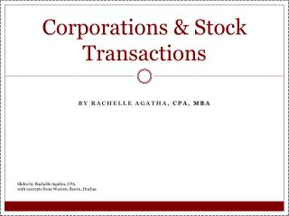 Corporations & Stock Transactions
