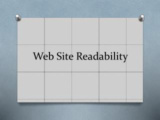 Web Site Readability