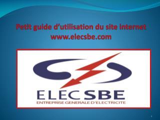 Petit guide d'utilisation du site internet www.elecsbe.com