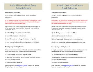 Android Device Email Setup