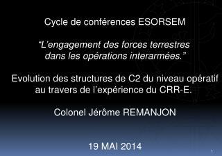 """Cycle de  conférences  ESORSEM """" L'engagement  des forces  terrestres"""