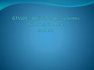 GTS501 � Ing�nierie des syst�mes humains,  labo  #5  : le c�ur