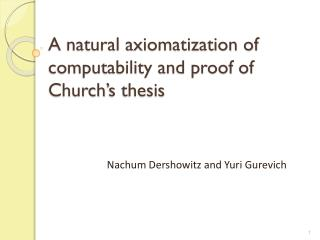 A natural axiomatization of computability and proof of Church's thesis