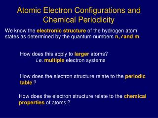 Atomic Electron Configurations and Chemical Periodicity