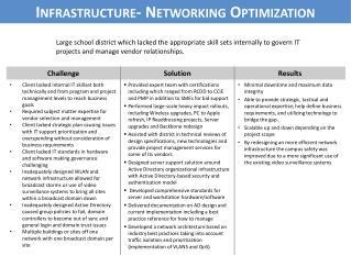 Infrastructure-  Networking Optimization