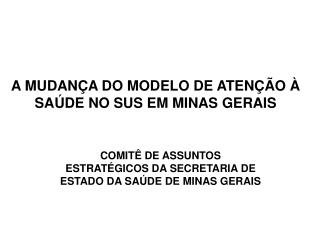 A MUDAN A DO MODELO DE ATEN  O   SA DE NO SUS EM MINAS GERAIS