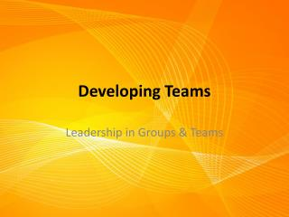 Developing Teams