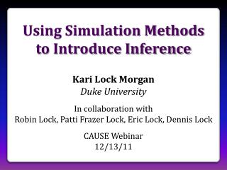 Using Simulation Methods to Introduce Inference