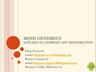MIND GENOMICS  APPLIED TO ANDROID APP DISTRIBUTION