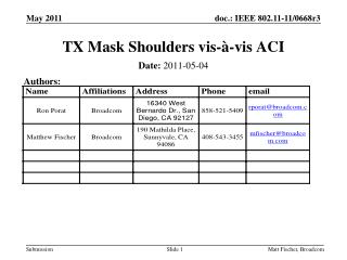 TX Mask Shoulders vis-à-vis ACI