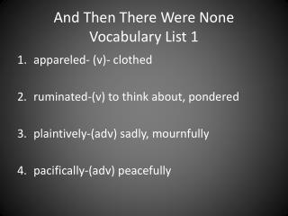 And Then There Were None  Vocabulary List 1