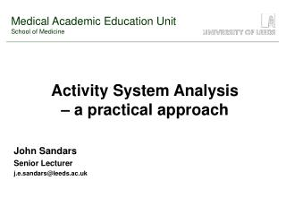 Activity System Analysis    a practical approach