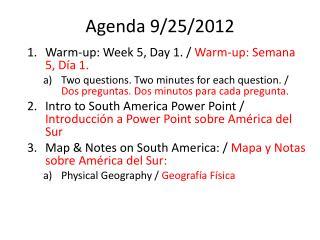 Agenda 9/25/2012