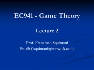 EC941 - Game Theory