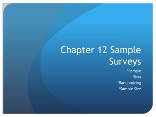 Chapter 12 Sample Surveys