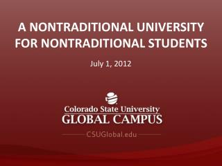 A Nontraditional University for Nontraditional Students