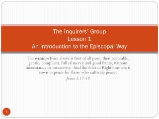 The Inquirers' Group Lesson 1 An Introduction to the Episcopal Way