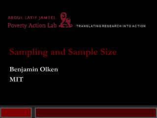 Sampling and Sample Size