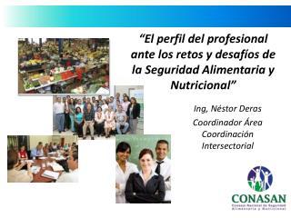 Ing , Néstor Deras Coordinador Área Coordinación Intersectorial