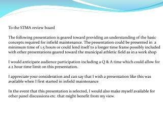 To the STMA review board