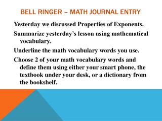 Bell Ringer – Math journal entry