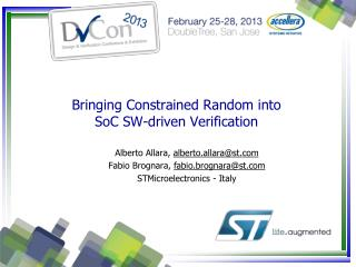 Bringing Constrained Random into  SoC SW-driven Verification