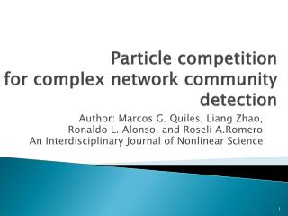 Particle competition  for complex network community detection
