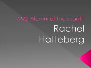 AMS Alumni of the month