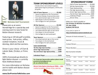 TEAM SPONSORSHIP LEVELS Includes dinner and cocktail reception,