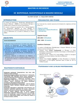 MASTERE DE RECHERCHE DE  BIOPHYSIQUE, RADIOPHYSIQUE  &  IMAGERIE MEDICALE