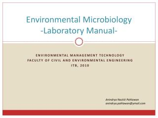 Environmental Microbiology -Laboratory Manual-