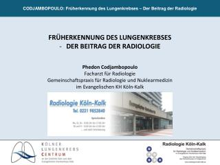 CODJAMBOPOULO: Früherkennung des Lungenkrebses – Der Beitrag der Radiologie