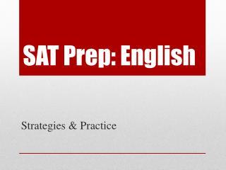 SAT Prep: English