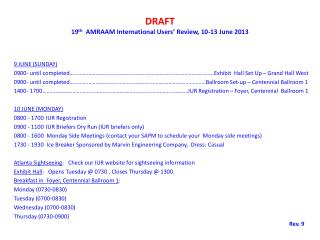 DRAFT 19 th   AMRAAM International Users' Review, 10-13 June 2013