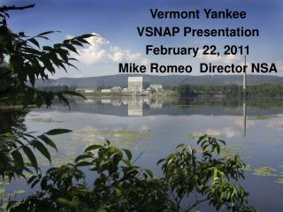 Vermont Yankee VSNAP Presentation February 22, 2011 Mike Romeo  Director NSA