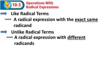 Like Radical Terms