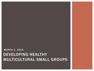 Developing  healthy multicultural small  groups