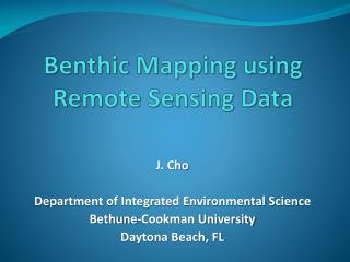Benthic Mapping using Remote Sensing Data