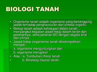 BIOLOGI TANAH