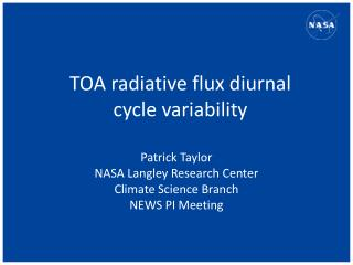 TOA  radiative flux diurnal  cycle variability