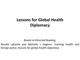 Lessons for Global Health Diplomacy